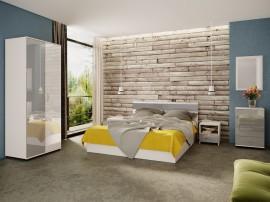 Спален комплект Ава 7 - бяло гланц/сиво гланц/бяло