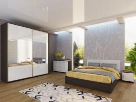 Спален комплект Ава 8 - бяло гланц/венге