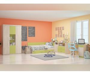 Обзавеждане за детска стая Анди 82/190 - Рокфорд лайт/Зелено океан