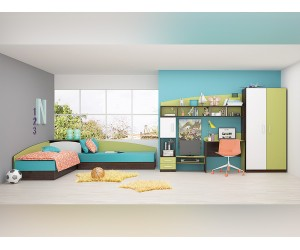 Обзавеждане за детска стая Томас - Венге амбър/Бяло/Зелено океан