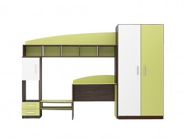 Секция с гардероб Томас - 280 см. - Венге амбър/Бяло/Зелено океан