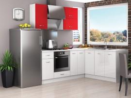 Готова кухня Алис 18 - Червено гланц / Бяло
