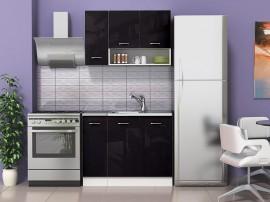 Готова модулна кухня Алис 1 - 110 см. - Черно гланц / Бяло