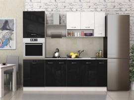 Готова модулна кухня Алис 19 - 230 см.- Черно гланц / Бяло гланц / Бяло