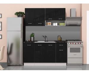 Готова модулна кухня Алис 8 - 160 см. - Черно гланц / Бяло