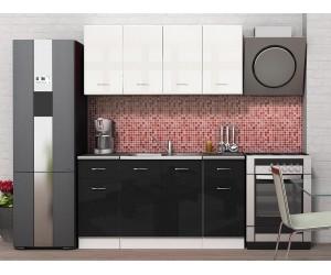 Готова модулна кухня Алис 9 - 160 см.- Черно гланц / Бяло гланц / Бяло