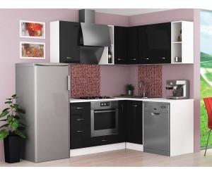 Ъглова готова модулна кухня Алис 10 - Черен гланц / Бяло