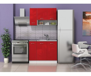 Готова кухня Алис 1 - Червено гланц