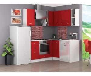 Ъглова готова модулна кухня Алис 10 - Червен гланц / Бяло