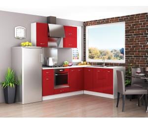 Ъглова готова модулна кухня Алис 18 - Червено гланц / Бяло