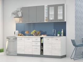 Готова кухня Диамант - 220 см. - сив диамант/дъб бланко/бяло