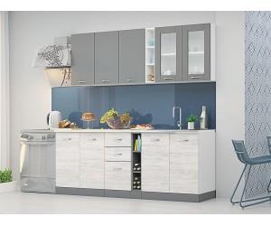 Готова кухня Диамант - сив диамант/дъб бланко/бяло