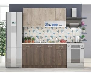 Модулна кухня Хавана 8 - Дъб норте/ Дъб марон / Бяло
