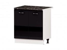 Кухненски долен шкаф Алис B2 80 см. с врати - черен гланц
