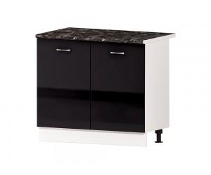 Кухненски долен шкаф Алис B24 100 см. с врати - черен гланц