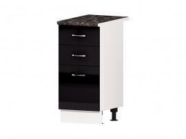 Кухненски долен шкаф Алис B25 40 см. с врата и чекмеджета - черен гланц