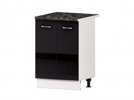 Кухненски долен шкаф Алис B51 60 см. с врати - черен гланц
