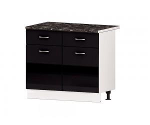 Кухненски долен шкаф Алис B63 100 см. с врати и чекмеджета - черен гланц
