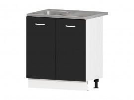 Кухненски шкаф за мивка Алис B3 80 см. - черен гланц