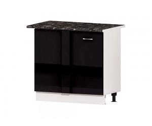 Кухненски долен ъглов шкаф Алис B10 100 см. с врати - черен гланц