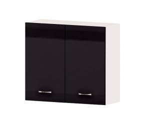 Кухненски горен шкаф Алис G13 80 см. с две врати - черен гланц