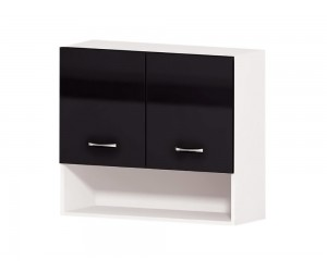Кухненски горен шкаф Алис G15 80 см. с врати и ниша - черен гланц