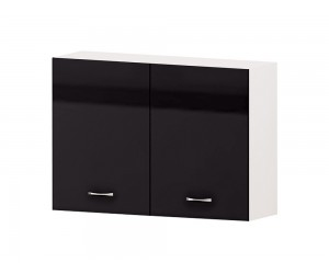 Кухненски горен шкаф Алис G28 100 см. с две врати - черен гланц