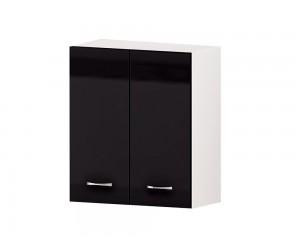 Кухненски горен шкаф Алис G49 60 см. с две врати - черен гланц