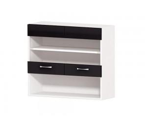 Кухненски горен шкаф Алис G58 80 см. с витрини - черен гланц