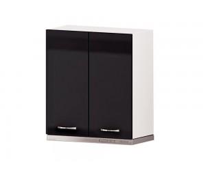 Кухненски шкаф за аспиратор Алис G17 60 см. с две врати - черен гланц