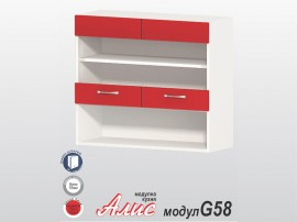 Кухненски горен шкаф Алис G58 80 см. с витрини - червен гланц