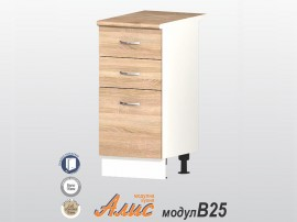 Кухненски долен шкаф Алис B25 40 см. с врата и чекмеджета - дъб сонома