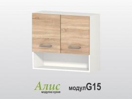 Кухненски горен шкаф Алис G15 80 см. с врати и ниша - дъб сонома