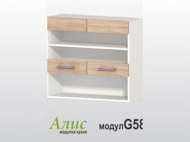 Кухненски горен шкаф Алис G58 80 см. с витрини - дъб сонома