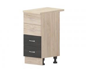 Кухненски долен шкаф Дорина B1 с чекмеджета 40 см. - рокфорд лайт/дъб карбон