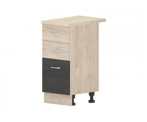 Кухненски долен шкаф Дорина B25 с чекмеджета и врата 40 см. - рокфорд лайт/дъб карбон