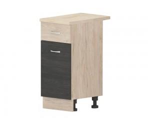 Кухненски долен шкаф Дорина B4 с чекмедже и врата 40 см. - рокфорд лайт/дъб карбон