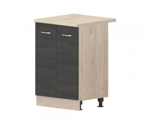 Кухненски долен шкаф Дорина B51 с врати 60 см. - рокфорд лайт/дъб карбон