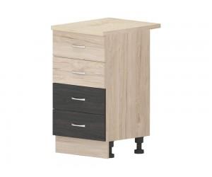 Кухненски долен шкаф Дорина B79 с чекмеджета 50 см. - рокфорд лайт/дъб карбон