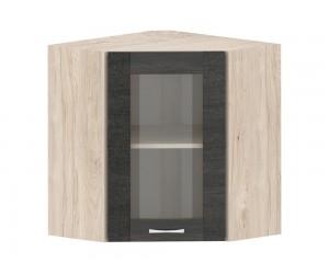 Кухненски горен ъглов шкаф Дорина G11 с витрина 60 см. - рокфорд лайт/дъб карбон