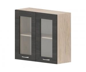 Кухненски горен шкаф Дорина G12 с две витрини 80 см. - рокфорд лайт/дъб карбон
