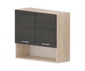 Кухненски горен шкаф Дорина G15 с ниша 80 см. - рокфорд лайт/дъб карбон