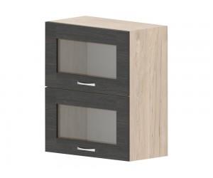 Кухненски горен шкаф Дорина G36 с клапващи витрини 60 см. - рокфорд лайт/дъб карбон