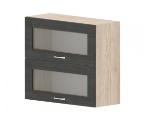 Кухненски горен шкаф Дорина G37 с клапващи витрини 80 см. - рокфорд лайт/дъб карбон