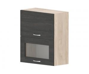 Кухненски горен шкаф Дорина G40 с клапващи витрина и врата 60 см. - рокфорд лайт/дъб карбон