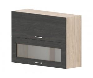 Кухненски горен шкаф Дорина G42 с клапващи витрина и врата 100 см. - рокфорд лайт/дъб карбон