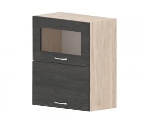 Кухненски горен шкаф Дорина G44 с клапващи врата и витрина 60 см. - рокфорд лайт/дъб карбон