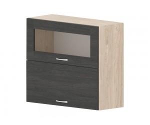 Кухненски горен шкаф Дорина G45 с клапващи врата и витрина 80 см. - рокфорд лайт/дъб карбон