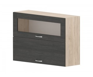 Кухненски горен шкаф Дорина G46 с клапващи врата и витрина 100 см. - рокфорд лайт/дъб карбон
