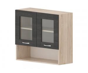 Кухненски горен шкаф Дорина G58 с две витрини и ниша 80 см. - рокфорд лайт/дъб карбон